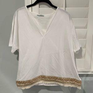 Zara White Gold Embroidered Hem V Neck